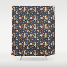 Fox and flowers Shower Curtain