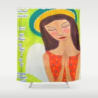 bible Shower Curtains featuring Whimsical Folk Art Angel with Bible quote by original art by micki