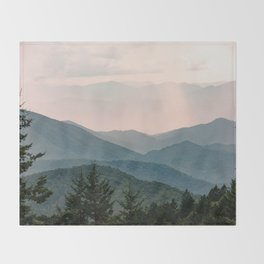 Smoky Mountain Pastel Sunset Throw Blanket
