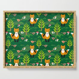 Fox and birds in the forest Serving Tray