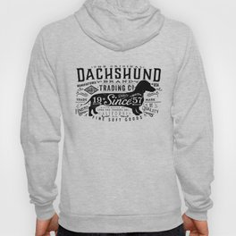 Dachshund trading company long dog graphic art illustration typography Hoody