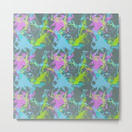 Abstract Ink Lines (Neon Gray) Metal Print