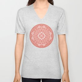 Living Coral Mandala-Pantone Color of the Year 2019 Unisex V-Neck