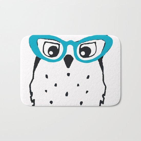 Cute Owl Glasses Bath Mat