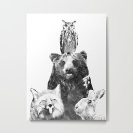 Black and White Woodland Animals Metal Print