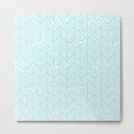 Turquoise Aqua Chevron Floral Metal Print
