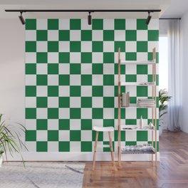 Checkered (Dark Green & White Pattern) Wall Mural