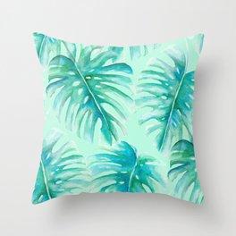Paradise Palms Mint Throw Pillow