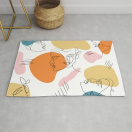 modern abstract retro faces line work illustration geometric shapes pattern Rug
