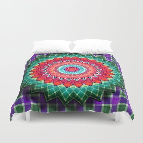 Plaid Flower Duvet Cover