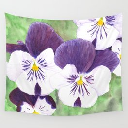 Purple and white pansies flowers Wall Tapestry