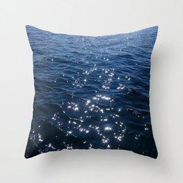 Sparkly Deep Blue Sea Waves Throw Pillow