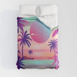 Sunset Palm Trees Vaporwave Aesthetic Comforters