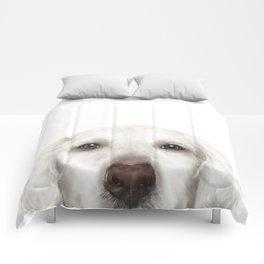 Golden Retriever WhiteDog illustration original painting print Comforters