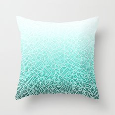 Ombre turquoise blue and white swirls doodles Throw Pillow