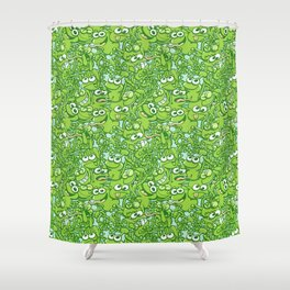 Funny green frogs entangled in a messy pattern Shower Curtain