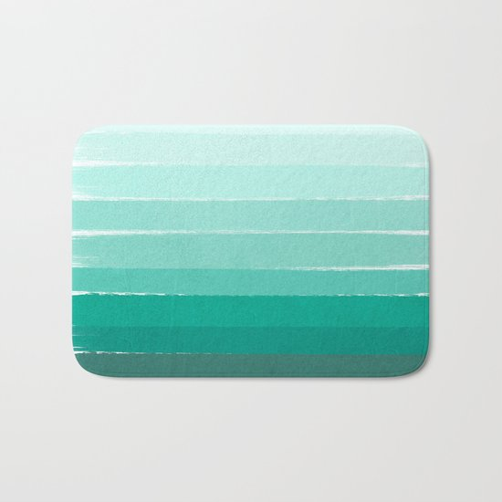 Ombre - Brushstroke Green/Blue Ocean Ombre, girly trend, dorm decor, cell phone, beach, summer,  Bath Mat