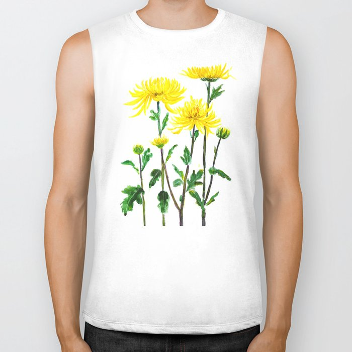 yellow chrysanthemum Biker Tank