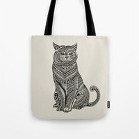 british Tote Bags featuring Polynesian British Shorthair cat by Huebucket