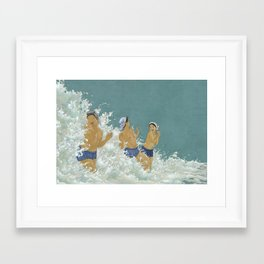 Three Ama Enveloped In A Crashing Wave Framed Art Print