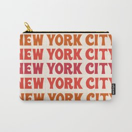 New York City - throwback 70's style colorful typography minimal decor art 1970s Carry-All Pouch
