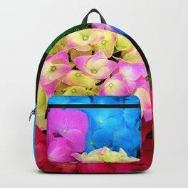 Red Blue Rose Flower Blossoms Hydrangeas Backpack