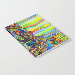 Colorful Psychedelic Rainbow Wolf Notebook