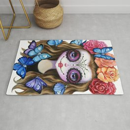 Sugar Skull Gil with Flower Crown and Butterflies Rug