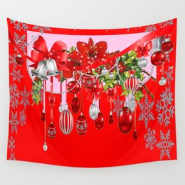 RED CHRISTMAS SNOW FLAKES & AMARYLLIS CHRISTMAS ORNAMENTS Wall Tapestry