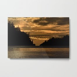 Deception Pass Bridge Sunset Metal Print
