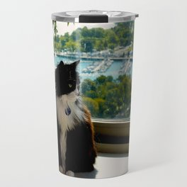 Contemplating Cat (Gracie Queen of Chicago Collection) Travel Mug
