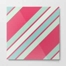 Pink and Blues Stripes Metal Print