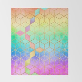 Rainbow Cubes Throw Blanket