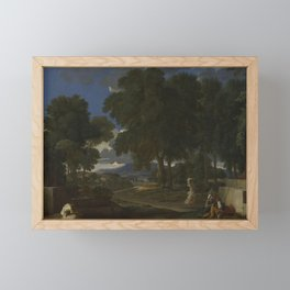 Nicolas Poussin - Landscape with a Man washing his Feet at a Fountain Framed Mini Art Print