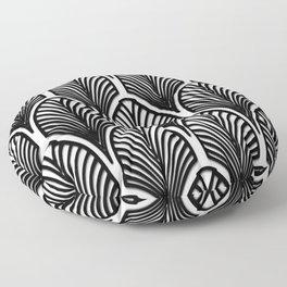Art deco,Black and white pattern, vintage,nouveau,chic and elegant, belle époque,fan pattern Floor Pillow
