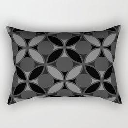 Geometric Circles In Grays and Black Rectangular Pillow