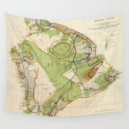 Vintage Map of Hawaii Island (1906) Wall Tapestry