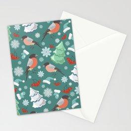Winter birds blue pattern Stationery Cards