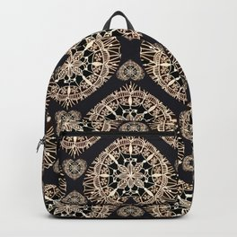 Black and Rose-Gold Valentine Mandala Heart Textile Backpack