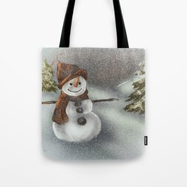 Happy Snowman In The Snow Tote Bag