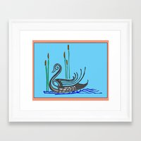 swan Framed Art Prints featuring Swan by Abundance