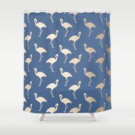 Gold Flamingo on Aegean Blue Shower Curtain