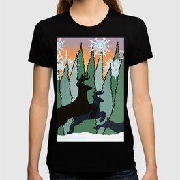 Deer and Winter Snowflakes T-shirt
