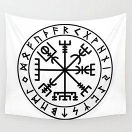 Vegvisir with futhark Wall Tapestry