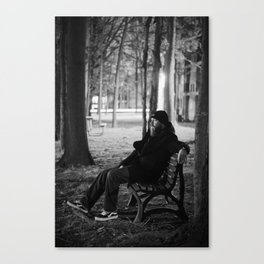 Bearded Man on Bench Canvas Print