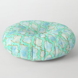 Luxury Aqua Teal Mint and Gold oriental quatrefoil pattern Floor Pillow