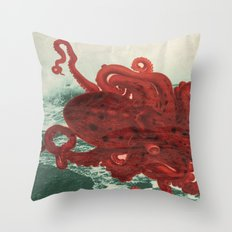 Octopus Beach Throw Pillow
