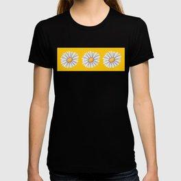 Tossed White Daisies Yellow Background T-shirt