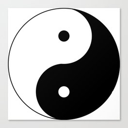 Black and White Yin and Yang Symbol Canvas Print
