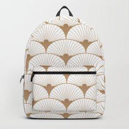 Art Deco Fans - white & gold Backpack